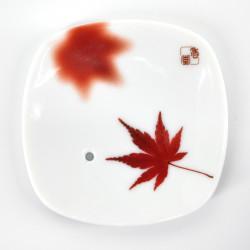 white square incense holder in ceramic dream maple leaf YUME MOMIJI