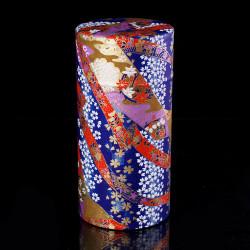 boîte à thé japonaise en papier washi bleue KAWA