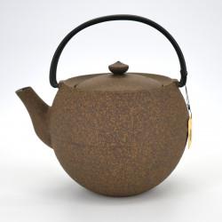 théière jaune ronde en fonte prestige japonaise chûshin kôbô MARUTAMA