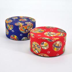 boîte à thé japonaise en papier washi plate 40g rouge bleu au choix MARU