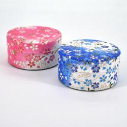 boîte à thé japonaise en papier washi plate 40g rose bleu au choix YUKI