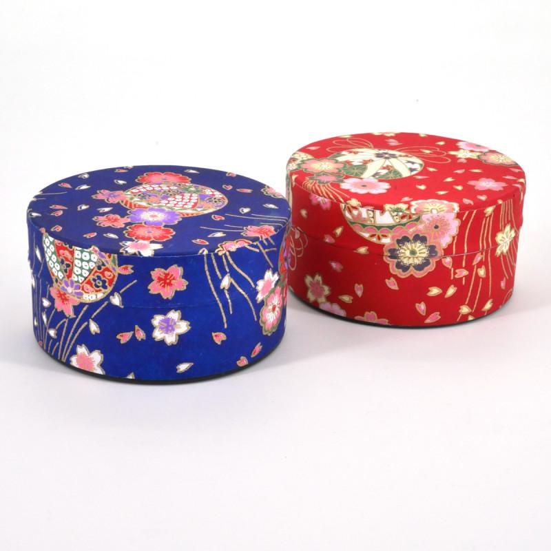 boîte à thé japonaise en papier washi plate 40g rouge bleu au choix TEMARI
