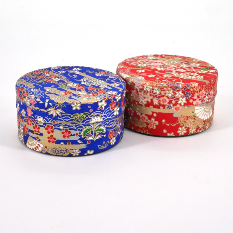 boîte à thé japonaise en papier washi plate 40g rouge bleu au choix SENSU