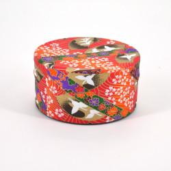 boîte à thé japonaise en papier washi plate 40g orange TSURU