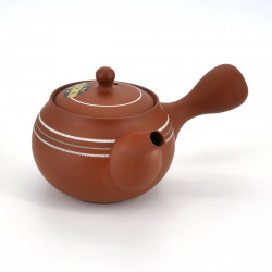 japanese red design white lines terracotta teapot SHUNJÛ