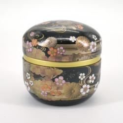 boîte à thé noire en métal SUZUKO KIKUSUI