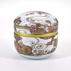 boîte à thé blanche en métal SUZUKO KIKUSUI
