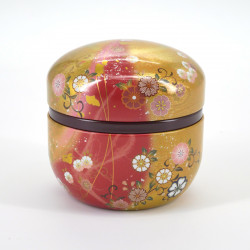 Japanese red golden teabox in metal SUZUKO HANAFUBUKI