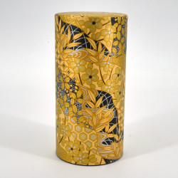 boîte à thé japonaise jaune dorée en papier washi KOGANE