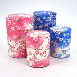 boîte à thé japonaise en papier washi 40g 100g rose bleu au choix YUKI