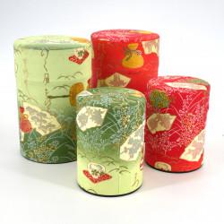 boîte à thé japonaise en papier washi 40g 100g vert orange au choix MATSU