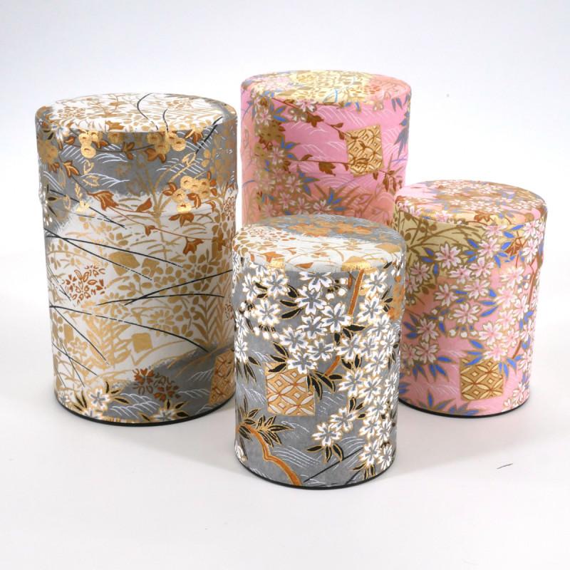 boîte à thé japonaise en papier washi 40g 100g gris rose au choix INAKA