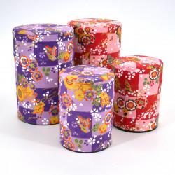 boîte à thé japonaise en papier washi 40g 100g violet rouge au choix ICHIMATSU
