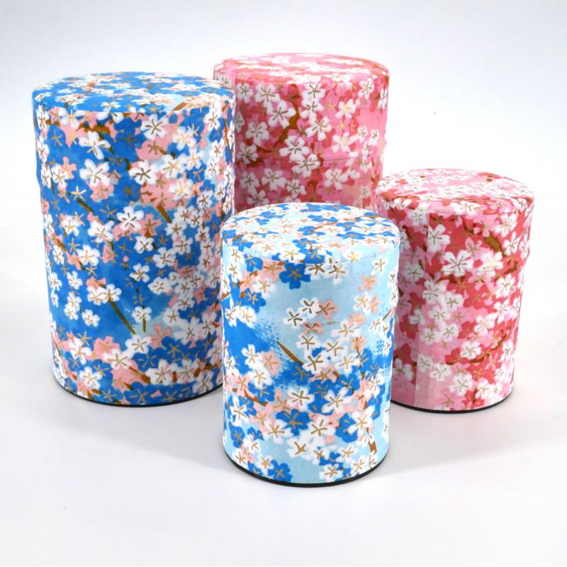 boîte à thé japonaise en papier washi 40g 100g bleu rose au choix UME
