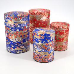 boîte à thé japonaise en papier washi 40g 100g rouge bleue au choix SENSU
