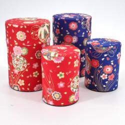 boîte à thé japonaise en papier washi 40g 100g bleue rouge au choix