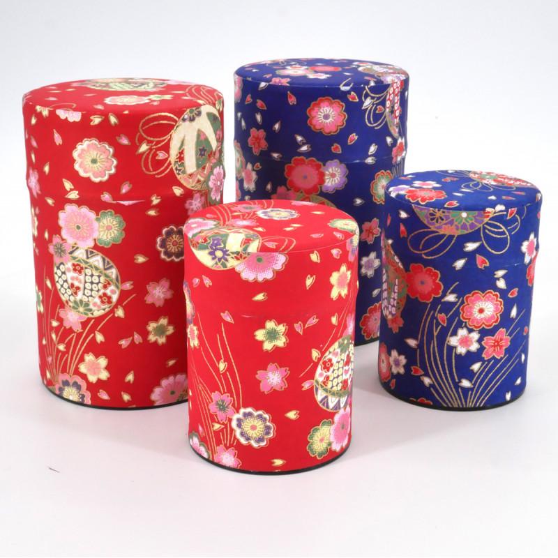 boîte à thé japonaise en papier washi 40g 100g bleue rouge au choix TEMARI