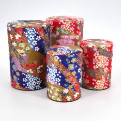 boîte à thé japonaise en papier washi 40g 100g rouge bleue au choix KAWA
