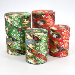 boîte à thé japonaise en papier washi 40g 100g orange verte au choix TSURU