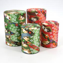 boîte à thé japonaise en papier washi 40g 100g orange verte au choix