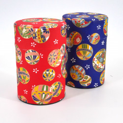 boîte à thé japonaise en papier washi 100g rouge bleue au choix MARU