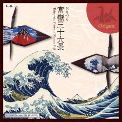 set of 48 Japanese sheets of washi paper Orizuru Hokusai 36 views mt. fuji 15x15cm