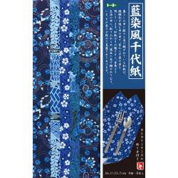 set of 4 Japanese sheets of B4size paper Aizome Chiyogami Yuzen Washi