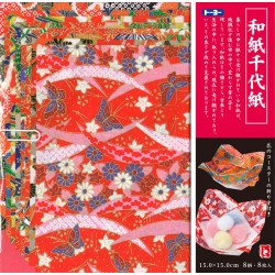set of 8 Japanese sheets of paper Wagami Chiyogami Origami 15x15cm