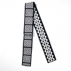 Japanese black or blue reversible square chain obi sash BANTENOBI