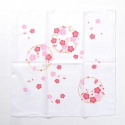 mouchoir en coton japonais blanc fleur de prune rouge 35x35cm UME NO MARU