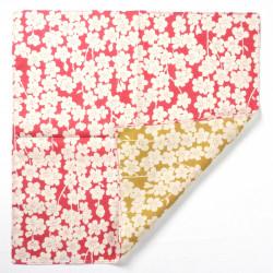furoshiki rose vert en coton japonais 48x48cm fleurs SHIDARE SAKURA