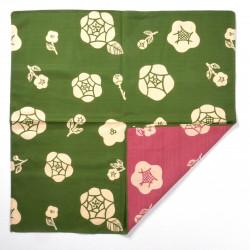 furoshiki rose vert en coton japonais roses 50x50cm BARA KUSA