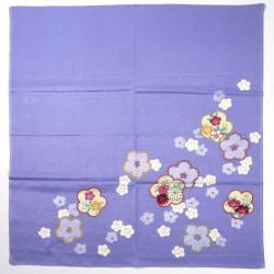 furoshiki violet en rayon japonais fleurs prune 68x68cm HIKITAUME