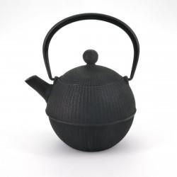 black japanese round Cast Iron Teapot Temari 0,5 lt