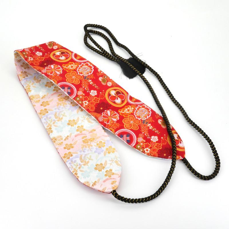 ceinture rouge et blanche Kinran obi traditionnelle japonaise reversible SAKURA