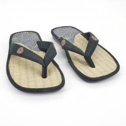 paire de sandales japonaises - Zori paille goza 019 pour homme blue