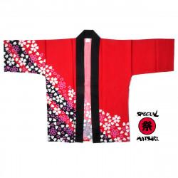 haori veste traditionnelle japonaise rouge en coton pour festival matsuri SAKURA