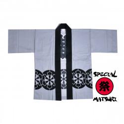 haori veste japonaise grise en coton pour festival matsuri roue