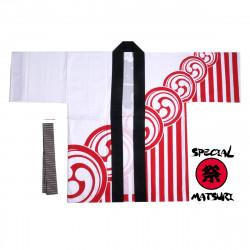 haori veste japonaise en coton couleur au choix pour festival matsuri kamon