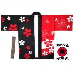 haori veste japonaise rouge en coton pour festival matsuri sakura