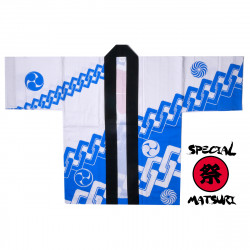 haori veste japonaise en coton bleu pour festival matsuri chaîne