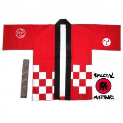 Japanese cotton red haori jacket for matsuri festival checkerboard