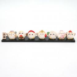 Set 7 hiboux porte-bonheur japonais SAE SHICHIFUKUJIN FUKURÔ