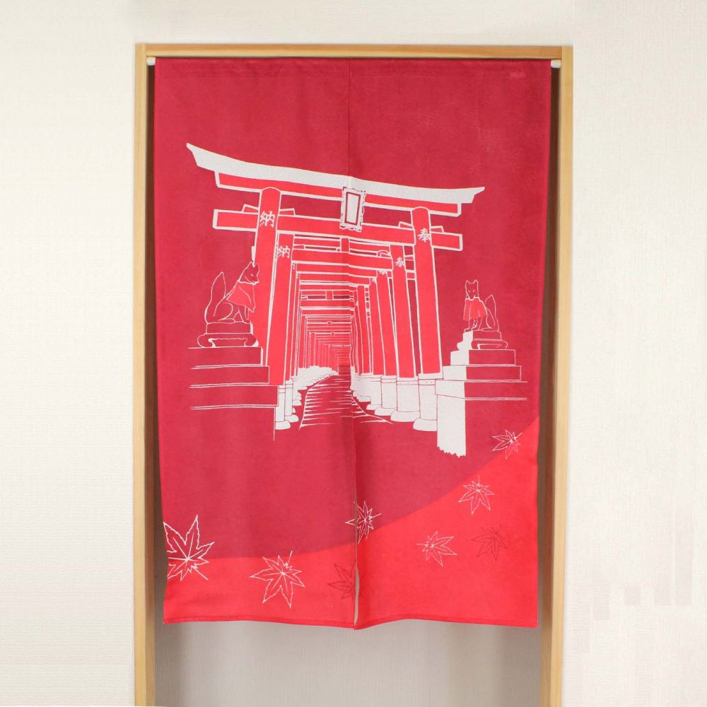 red japanese noren curtain in polyester, INARI, temple door