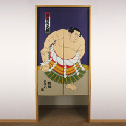 blue japanese noren curtain in polyester, TANIKAZE, sumo