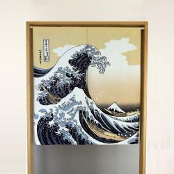 rideau noren japonais bleu en polyester, SHIRANAMI, vague