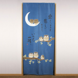 blue japanese noren curtain in polyester, TANOSHII TOKI MO, owls