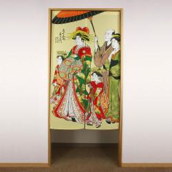rideau noren japonais jaune en polyester, OIRAN, femme