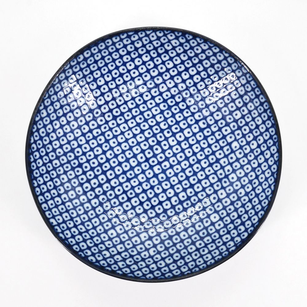 Japanese plate, RAINDROP, blue reasons