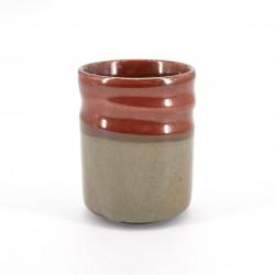 taza de té japonés, SABI, rojo y beis